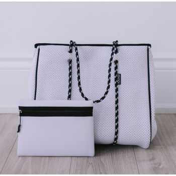Bag & Bougie Tote - Winter White with Zipper
