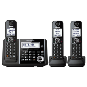 Panasonic Dect 6.0 Cordless Phones with 3-Handsets & Battery Backup Operation