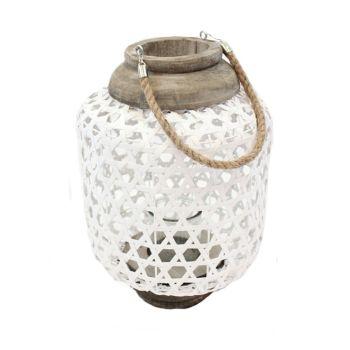 Koppers Home White Woven Lanterns - Set of 2