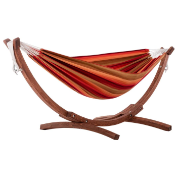 Vivere Double Sunbrella® Hammock with Solid Pine Arc Stand - Sunset