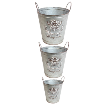 Koppers Home Rustic Galvanized Aluminum Bee Buckets - Set of 3