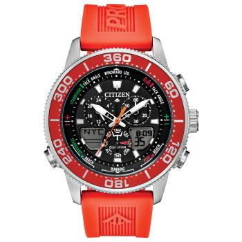 Citizen Men's Eco-Drive Promaster Marine Sailhawk Analog-Digital Orange Strap Watch