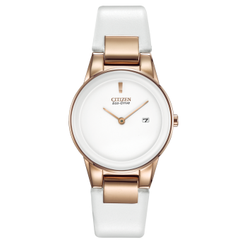 Citizen Axiom Ladies Eco-Drive White Leather Strap Watch
