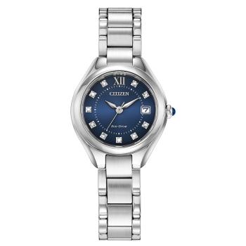Citizen Silhouette Crystal Ladies Eco-Drive Blue Dial Bracelet Watch