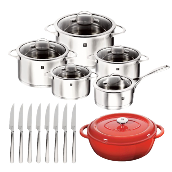 Zwilling® Essence 10-Piece Cookware Set with Bonus Cast Iron French Oven and 8-Piece Steak Knives