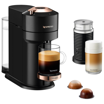 Nespresso Vertuo Next Coffee and Espresso Machine with Aeroccino - Black with Rose Gold