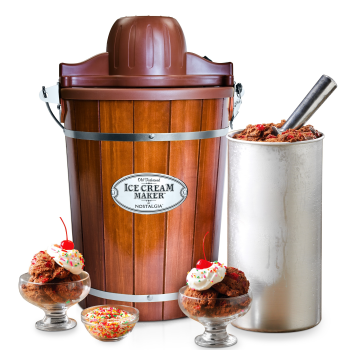 Nostalgia™ 6-Quart Wood Bucket Electric Ice Cream Maker