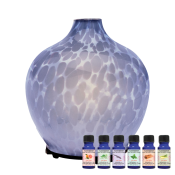 T-Zone™ Health Glass Art Diffuser with 6 Essential Oils - Smokey Blue
