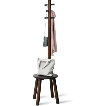 Umbra® Pillar Stool with Built-In Coat Rack - Black/Walnut
