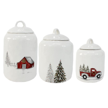 Koppers Home Country Christmas Canisters - Set of 3