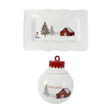 Koppers Home Country Christmas Tray and Cookie Jar