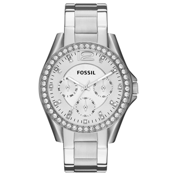 Fossil Women's Riley Silver Dial Stainless Steel Watch