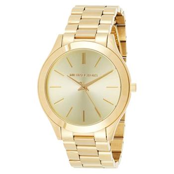 Michael Kors Ladies Slim Runway Gold-Tone Stainless Steel  Watch