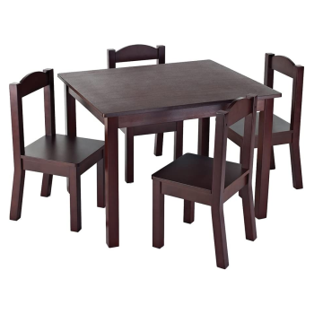 Tot Tutors Kids Table with 4 Chairs - Espresso