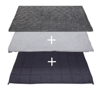 Hush® 2-in-1 Weighted Blanket Bundle: Summer & Winter - Charcoal Grey - Queen 80 x 87 - 25lb