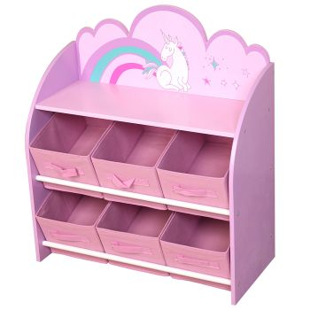 Danawares Unicorn Toy Organizer/Bookshelf with Fabric Bins