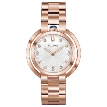Bulova Rubaiyat Women's Rose Gold White Dial Diamond Watch