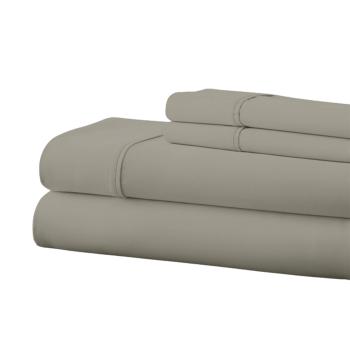 Cuddle Down 100% Percale Deluxe Cotton 220TC 4-Piece Sheet Set - Dove Grey - Queen