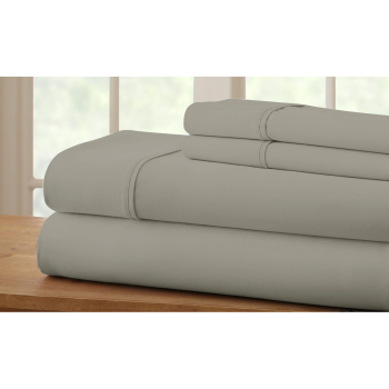 Cuddle Down 100% Percale Deluxe Cotton 220TC 4-Piece Sheet Set - Dove Grey - King