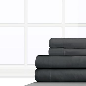 Cuddle Down 100% Cotton Velvet Flannel 4-Piece Sheet Set - Charcoal Grey - Queen