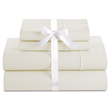 Cuddle Down Deluxe Impressions 500TC Cotton Sateen 4-Piece Sheet Set - Ecru - Queen
