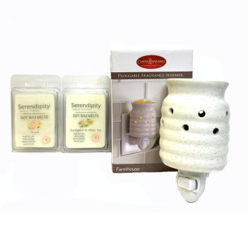 Serendipity Candles Farmhouse Pluggable Fragrance Warmer with 2 Soy Wax Melts
