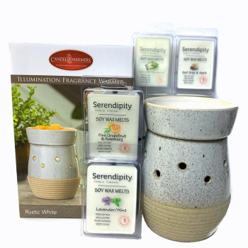 Serendipity Candles Rustic White Illumination Wax Melter with 4 Soy Wax Melts