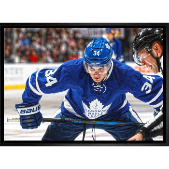Frameworth Auston Matthews 20x29 Unsigned Framed Canvas Maple Leafs Face-Off