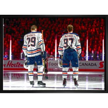 Frameworth Connor McDavid / Leon Draisaitl 20x29 Framed Canvas Oilers From Behind