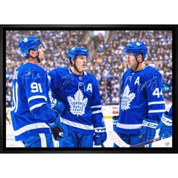 Frameworth Mitch Marner / John Tavares / Morgan Rielly Multi Signed 20x29 Canvas Framed Toronto Maple Leafs