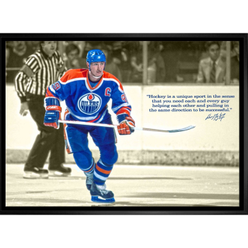 Frameworth Wayne Gretzky 20x29 Unsigned Framed Canvas Oilers Quote
