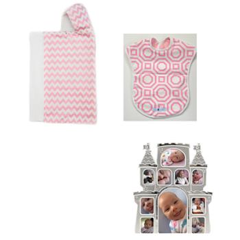 Bella Bundles Chevron/Pink Snap Hooded Towel, Reversible Bib and Castle Picture Frame