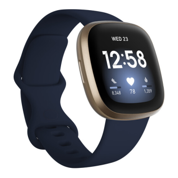 Fitbit Versa 3 Smartwatch - Midnight/Soft Gold Aluminum