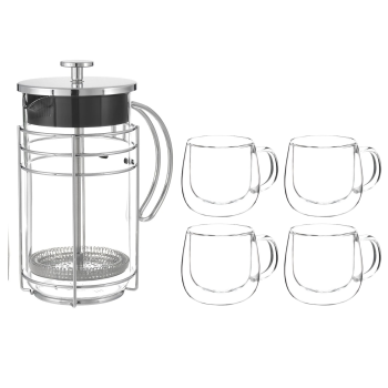 Grosche Madrid 1000ml Premium French Press with 4 Fresno Double Wall Glass Cups