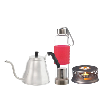 Grosche Marrakesh Pour Over Kettle, Cairo Teapot Warmer and Red Marino Tea Infuser Bottle