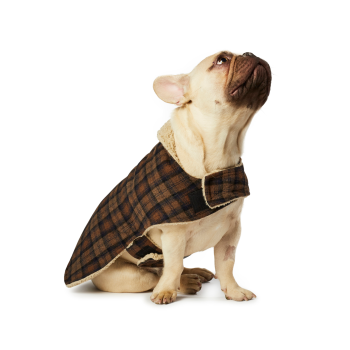 Hotel Doggy Brown Melton Blanket Coat with Sherpa Lining - XXL