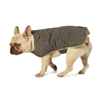 Hotel Doggy Grey Melton Blanket Coat With Sherpa Lining - XXL
