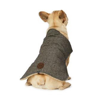 Hotel Doggy Grey Melton Blanket Coat With Sherpa Lining - XXXL