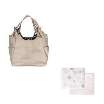 JP Lizzy Sandstone Satchel Diaper Bag and JJ Cole Primrose Muslin Blankets