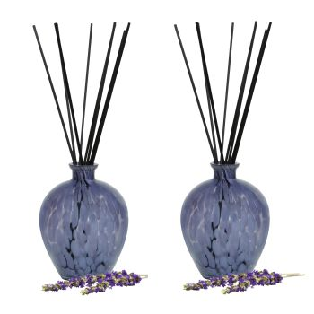 T-Zone™ Health Art Glass Reed Diffuser with 200 ml Scent - Blue Glass with Lavender Scent - Set of 2