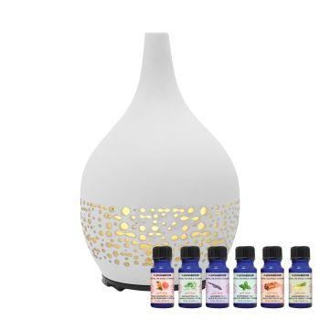 T-Zone™ Health Glass Art Diffuser with 6 Essential Oils - Ceramic