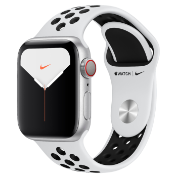Apple Watch Nike Series 5 Silver Aluminum Case with Pure Platinum/Black Nike Sport Band - 40mm - GPS + Cellular