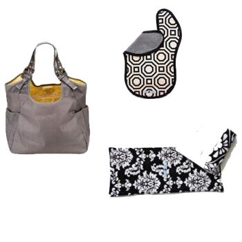 JP Lizzy Slate Citron Satchel Diaper Bag with Bella Bundles Black Bib and Burp Cloths