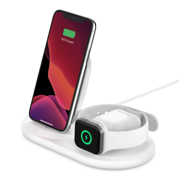 Belkin Boost Charge™ 3-in-1 Wirelesss Charger for Apple Devices - White