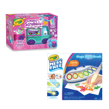 Crayola Scribble Scrubbie Pets Mobile Spa Playset and Color Wonder Magic Light Brush Bundle
