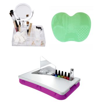 Perfect Solutions Cosmetic Organizer with Mirror, Laptop Manicure Salon and Makeup Brush Cleansing Mat