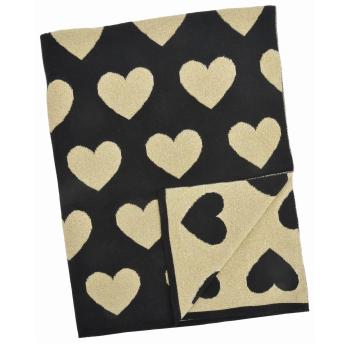 Merben International Black and Gold Multi Heart Cotton/Lurex Baby Blanket