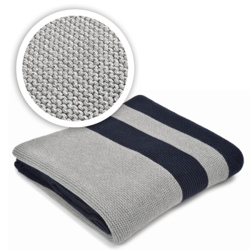 Merben International Hudson Grey/Navy Cotton Throw  - 50'' x 60''