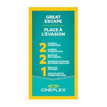 Cineplex Entertainment - Great Escape Certificate