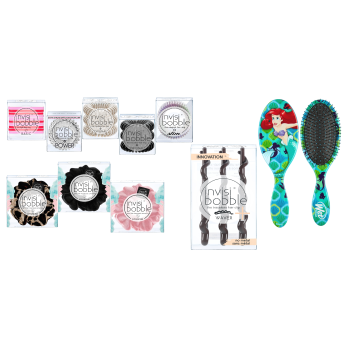 Invisibobble® 9-Piece Assorted  Set with Wet Brush Princess Ariel Detangler Brush